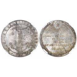 Chile, 4-reales sized silver proclamation medal, 1828, Constitution, encapsulated NGC MS 62.