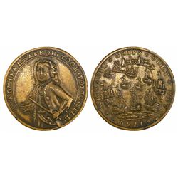 Great Britain, small copper-alloy medal, Admiral Vernon, 1739, Porto Bello, three-quarters portrait,
