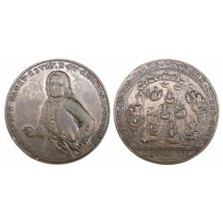 Great Britain, copper-alloy medal, Admiral Vernon, 1739, Porto Bello, three-quarters portrait, legen