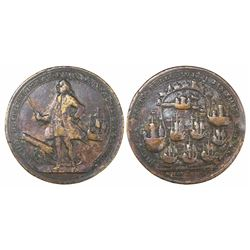 Great Britain, copper-alloy medal, Admiral Vernon, 1739, Porto Bello, full-length portrait facing le