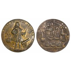 Great Britain, copper-alloy medal, Admiral Vernon, 1739, Porto Bello, full-length portrait facing ri