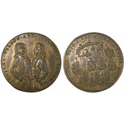 Great Britain, copper-alloy medal, Admiral Vernon, 1739, Porto Bello, three-quarter portraits of Ver