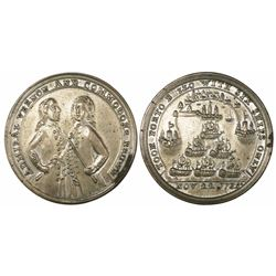 Great Britain, silver-alloy medal, Admiral Vernon, 1739, Porto Bello, three-quarter portraits of Bro