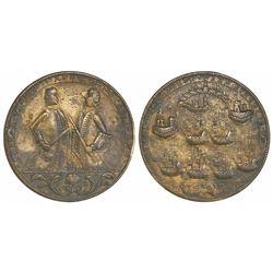 Great Britain, copper-alloy medal, Admiral Vernon, 1739, Porto Bello, three-quarter portraits of Bro