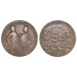 Great Britain, copper-alloy medal, Admiral Vernon, 1739, Porto Bello, three-quarter portraits of Bro