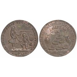Great Britain, copper-alloy medal, Admiral Vernon, 1739, Porto Bello, portraits of Vernon (standing)