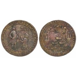 Great Britain, small copper-alloy medal, Admiral Vernon, 1739, Porto Bello, portraits of Vernon (sta