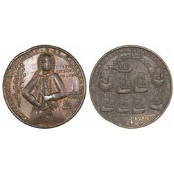 Great Britain, copper-alloy medal, Admiral Vernon, 1739, Porto Bello / Fort Chagre, facing three-qua