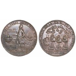 Great Britain, copper-alloy medal, Admiral Vernon, 1739, Porto Bello / Fort Chagre, full standing po