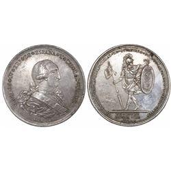 Queretaro, Mexico, large silver proclamation medal, Charles IV, 1790, rare.