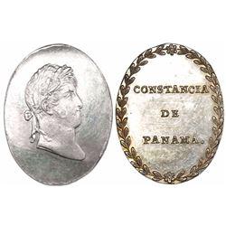 Panama (under Spain), oval silver medal, Ferdinand VII, Constancia de Panama (1815), very rare, ex-R