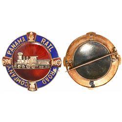 Panama, enameled gold medal with pin back, Panama Rail Road Company, mid-1800s, rare.