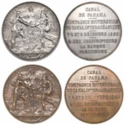 Lot of two Panama (France) silver and bronze medals, 1880, beginning of construction on the French P