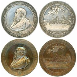 Lot of two Panama (Spain) high-relief silver and copper medals, 1886, first Spanish expedition to th