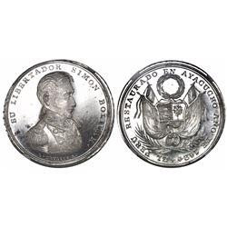 Ayacucho, Peru, silver medal, 1824 (struck 1825), Restoration of Peru in Ayacucho by Bolivar, encaps