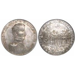 Cuzco, Peru, silver 8R-sized medal, 1825, Bolivar / liberation of Cuzco, encapsulated NGC MS 63, fin