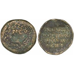 Cartagena, Spain, bronze proclamation medal, Philip II, ND (ca. 1558), unique.