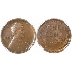 USA (San Francisco mint), one cent Lincoln, 1909-S VDB, rare, encapsulated XF 40 BN.