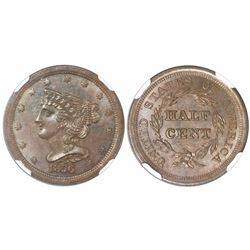 USA (Philadelphia mint), half cent Liberty head, 1856, C-1, encapsulated NGC MS 64 BN.