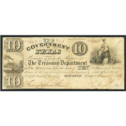 Houston, Texas, Government of Texas, $10, 1-6-1838, Sam Houston secretarial signature.