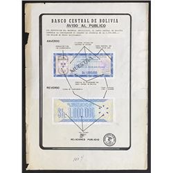 Bolivia, Banco Central, printer's essay 1,000,000 pesos bolivianos check, 8-3-1985.