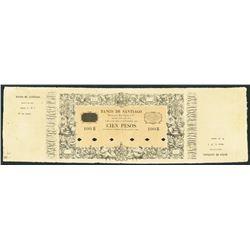 Santiago, Chile, Banco de Santiago de Bezanilla & Mc Clure, 100 pesos, 2-1-1861, extremely rare.