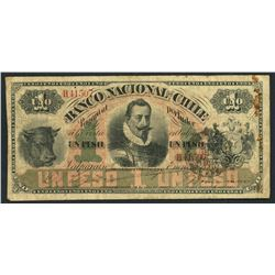 Valparaiso, Chile, Banco Nacional, peso, 3-1-1883.