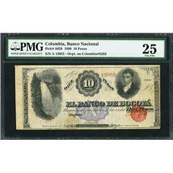 Bogota, Colombia, Banco Nacional, 10 pesos, 30-10-1899, certified PMG VF 25.