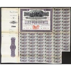 Bogota, Colombia, Banco de Colombia, specimen 100 pesos 10-percent coupon bond, 21-11-1924.
