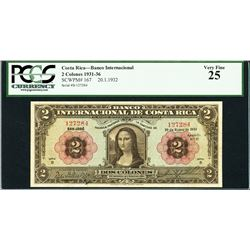 "San Jose, Costa Rica, Banco Internacional, 2 colones, 20-1-1932, ""Mona Lisa"" note, certified PCGS VF"