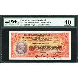 San Jose, Costa Rica, Banco Nacional, 2 colones, 15-2-1939, certified PMG XF 40.