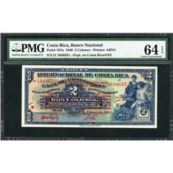 San Jose, Costa Rica, Banco Nacional, 2 colones, 1-2-1940, certified PMG Choice UNC 64 EPQ.