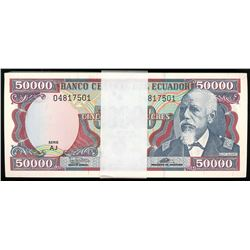 Quito, Ecuador, Banco Central, bank strap of 100 consecutive Ecuador 50,000 sucres, 12-7-1999.