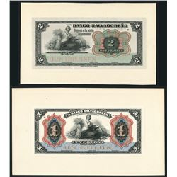 Lot of two El Salvador, Banco Salvadoreno, front proofs, 1920.