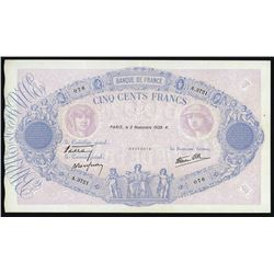 Paris, France, Banque de France, 500 francs, 2-11-1939.