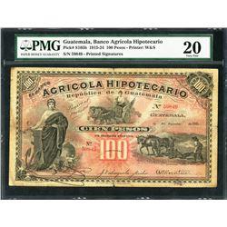 Guatemala, Banco Agricola Hipotecario, 100 pesos, 31-8-1915, certified PMG VF 20 / minor rust.