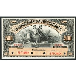 Guatemala, Banco Americano, specimen 500 pesos, ND (1895-1926).