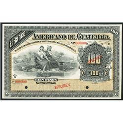 Guatemala, Banco Americano, specimen 100 pesos, ND (1895-1926).