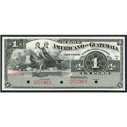 Guatemala, Banco Americano, specimen 1 peso, ND (1895-1926).