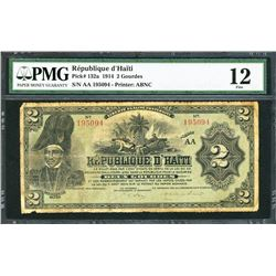 Haiti, Republique d'Haiti, 2 gourdes, 22-12-1914, certified PMG Fine 12.