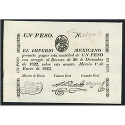 Mexico, Mexican Empire, 1 peso, 1-1-1823, pen cancellation.