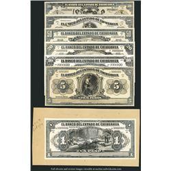 Set of fourteen Chihuahua, Mexico, Banco del Estado de Chihuahua, bromide proofs, 1914.