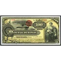 Durango, Mexico, Banco de Durango, 100 pesos, 1-3-1914, low serial number.