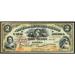 Mexico City, Mexico, Banco de Londres Mexico y Sud America, specimen 2 pesos, 1883.