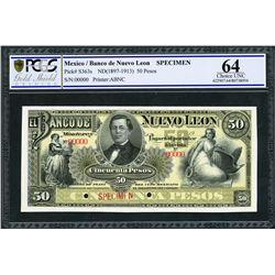 Monterey, Mexico, Banco de Nuevo Leon, specimen 50 pesos, ND (1897-1913), certified PCGS UNC 64.