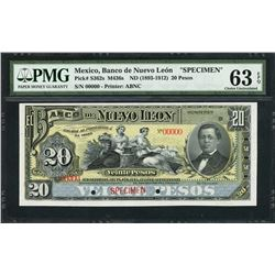 Monterey, Mexico, Banco de Nuevo Leon, specimen 20 pesos, ND (1893-1912), certified PMG UNC 63 EPQ.