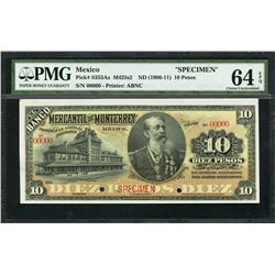 Nuevo Leon, Mexico, Banco Mercantil de Monterrey, specimen 10 pesos, ND (1906-11), certified PMG UNC