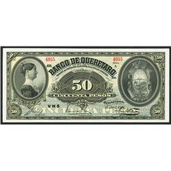 Queretaro, Mexico, Banco de Queretaro, 50 pesos, 15-4-1914.
