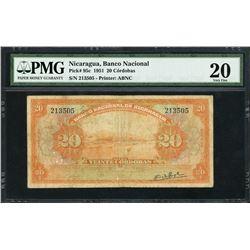 Nicaragua, Banco Nacional, 20 cordobas, 1951, certified PMG VF 20.