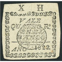 Peru, Banco de la Emancipacion, 4 reales, 1822, rare.